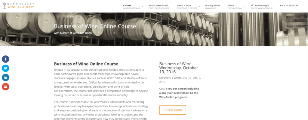Business of Wine Course web page