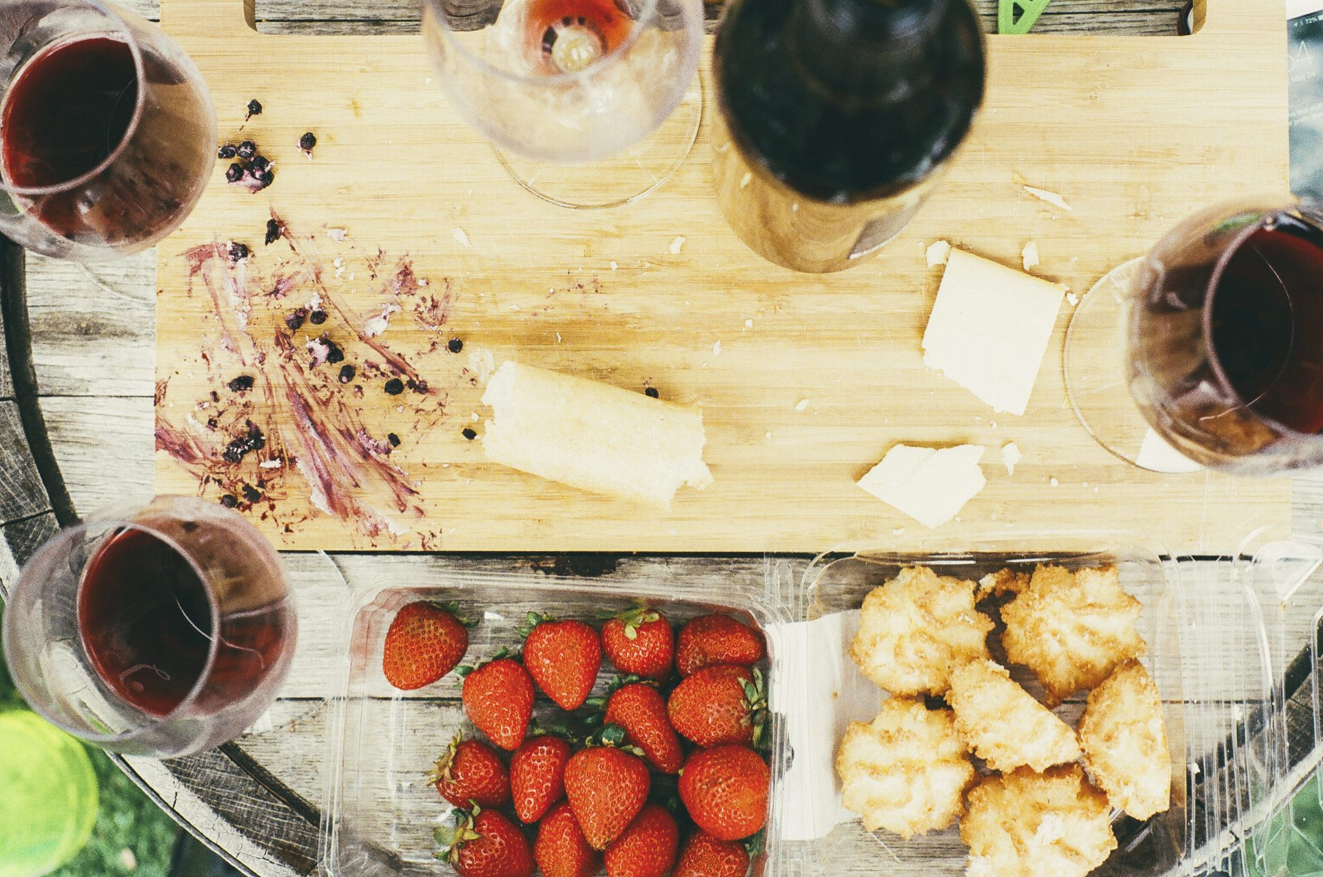 Wine, food, kitchen cutting board