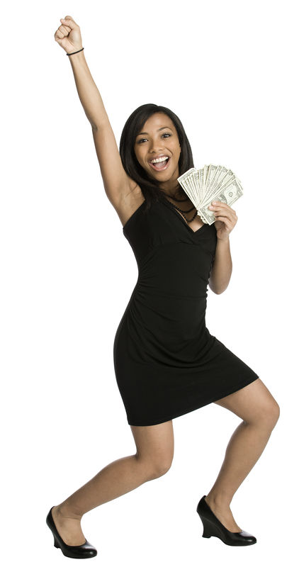 Woman with cash hand in air