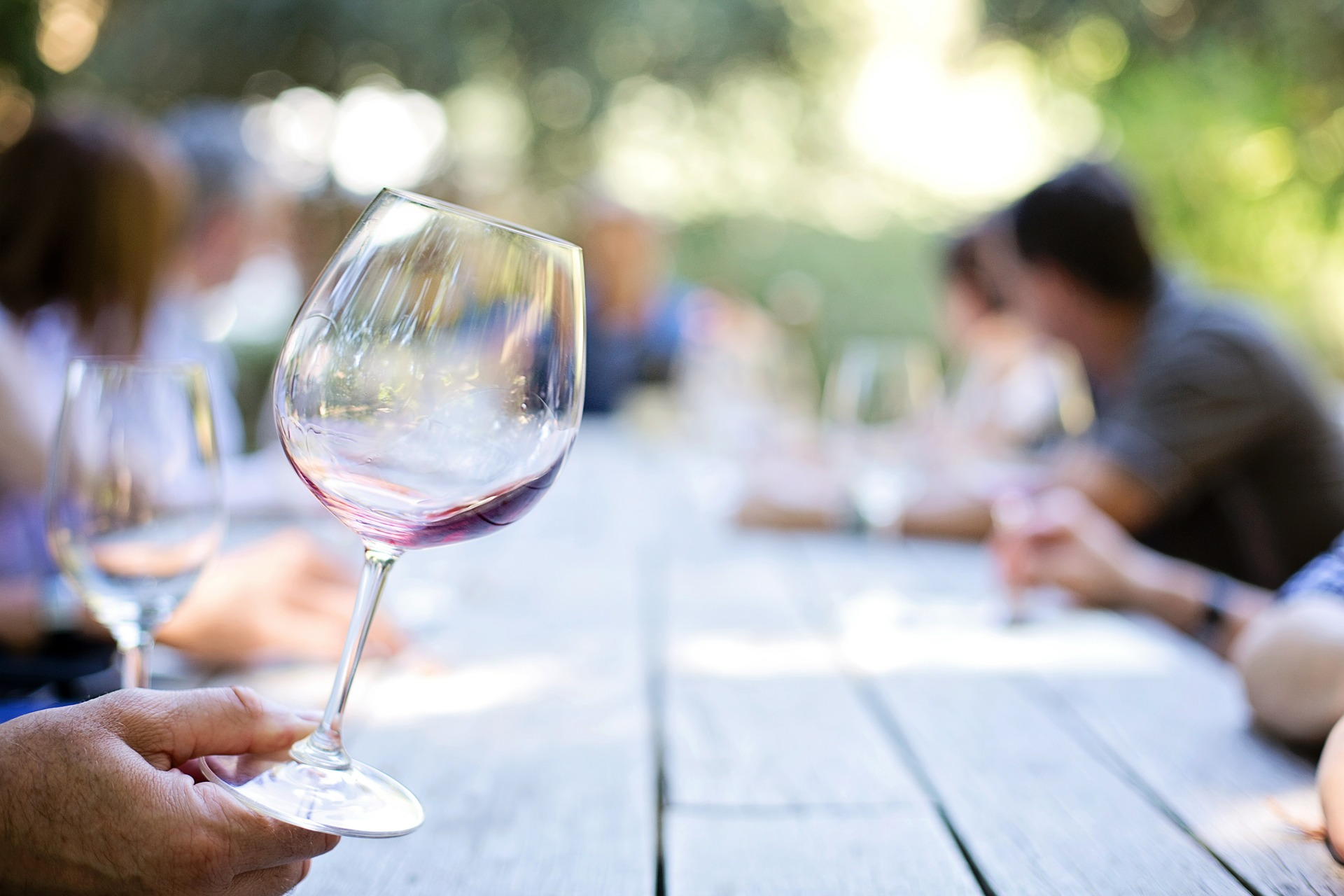 Wine Glass over table
