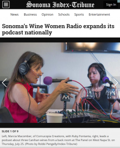 Screenshot of Sonoma Index Tribune article on podcast