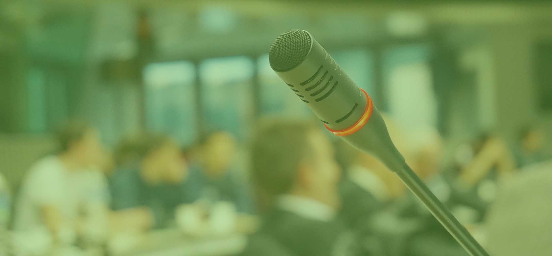 Microphone in front of conference