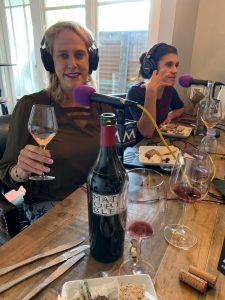 Patti Neumann, Misty Roudebush Cain, Mathis Wine Uberblend bottle