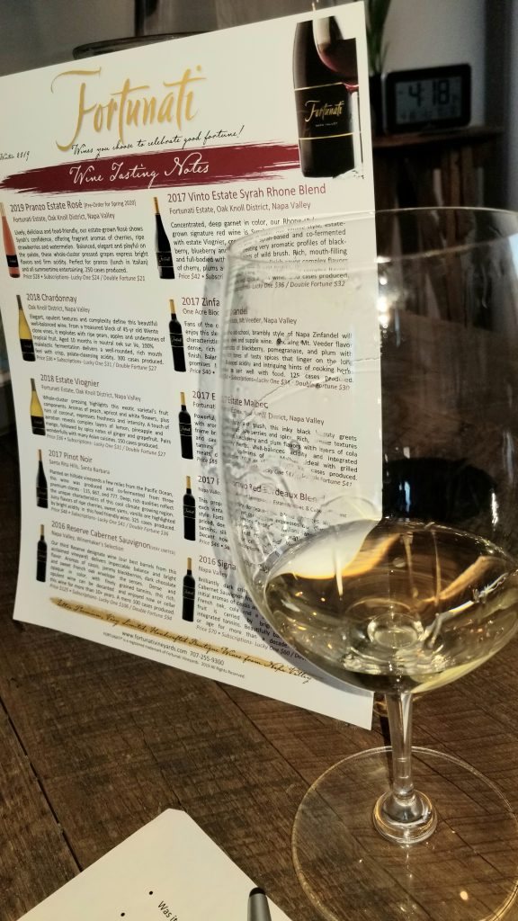 Wine glasses and view of vineyard